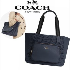 COACH Midnight Blue Rouched Court Large Tote Bag